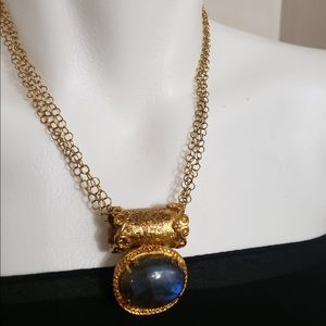 🎁 True Oval Sapphire Copper Gold Long Necklace
